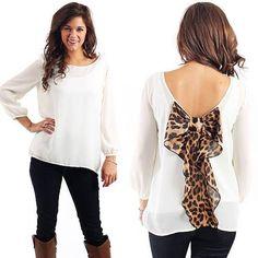 Leopard Print Bow Top.