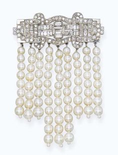 AN ART DECO DIAMOND AND NATURAL PEARL BROOCH, BY LINZELER & MARCHAK The surmount of weaved design set with rectangular and circular-cut diamonds suspending nine strands of graduated pearls, circa 1925, 5.2 cm wide Signed Linzeler - Marchak