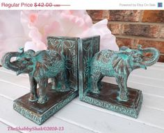 HOLIDAY SALE Elephant Book Ends / Shabby Chic / Office Decor / Elephant Statue /Elephant  Decor / Patina