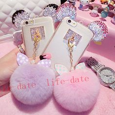 Bling-Crystal-Ears-TPU-Soft-Case-Rabbit-fur-Fluff-Ball-Cover-For-Cell-Phones