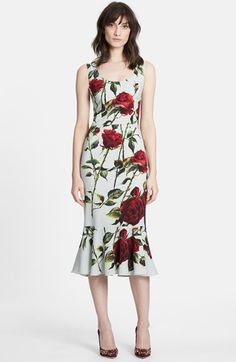 Dolce&Gabbana Rose Print Cady Sheath Dress available at #Nordstrom