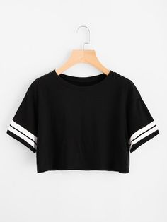SheIn offers Varsity Striped Crop Tee & mo - Fashionable T Shirt - Ideas of Fashionable T Shirt - Shop Varsity Striped Crop Tee online. SheIn offers Varsity Striped Crop Tee & more to fit your fashionable needs. Teen Fashion Outfits, Tween Fashion, Mode Outfits, Trendy Outfits, Girl Fashion, Girl Outfits, Fashion Shirts, Style Fashion, Sporty Outfits