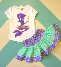 Mermaid Personalized with Teal or Gold Mermaid Birthday Outfit - Mermaid T Shirt - Ideas of Mermaid T Shirt - Mermaid Personalized Mermaid Birthday Outfit by Xannazoo on Etsy Mermaid Birthday Outfit, Mermaid Outfit, Little Mermaid Birthday, Little Mermaid Parties, 1st Birthday Outfits, 4th Birthday Parties, The Little Mermaid, Girl Birthday, Birthday Ideas
