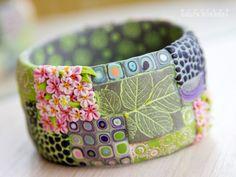 Batik style polymer clay cane cuff/bangle/stackable bracelet
