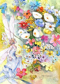 Fairy Garden Fanciful Blossoming Flowers Pink White Blue Red Yellow Fantasy Cornucopia Multicoloured Floral Watercolour Wall Art Print Gift by TerryCulpanGallery on Etsy