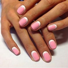 Pastel pink-white nails in the technique of dual-layer reverse French. This style was given a second birth in a new ...