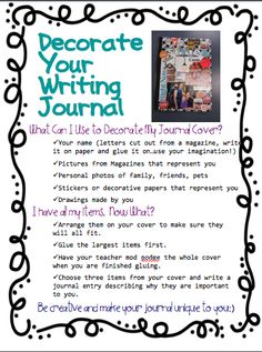 Decorating Student Journals Handout (FREE) from Fourth Grade Flipper on… Teaching Writing, Writing Activities, Writing Ideas, Teaching Ideas, Kindergarten Writing, Teaching English, Writing Traits, Writing Curriculum, Writing Strategies