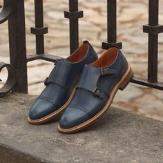 Handcrafted Custom Made Women's Double Monks in Navy Blue Painted Calf Leather From Robert August. Create your own custom designed shoes. Custom Made Shoes, Custom Design Shoes, Leather Heels, Calf Leather, Double Monk Strap, Suit Up, Men With Street Style, How To Make Shoes, Hot Shoes