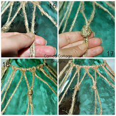 Cameo Cottage Designs: Knotted Jute Net Demijohns or Bottles DIY Tutorial! Step by step guide. Glass Bottle Crafts, Wine Bottle Art, Painted Wine Bottles, Diy Bottle, Bottle Labels, Macrame Tutorial, Diy Tutorial, Wine Making Kits, Jute Crafts