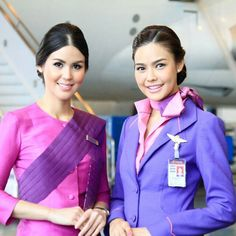 Thai Airways stewardess crewfie @tgcrew Airline Uniforms, Airline Pilot, Thai Airways, Cabin Crew, Flight Attendant, Kiss Goodnight, Beautiful Women, Silk Scarves, Nurses