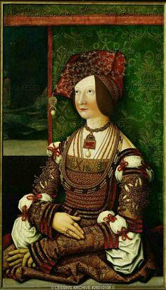 Ritratto di Bianca Maria Sforza.  1505-1510. Olio su tavola. 76x43.5. KHM Wien.