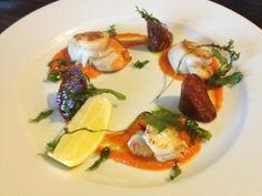 Twitter / GrayOxHartshead: Seared king scallops, red pepper purée, Yorkshire chorizo, crispy rocket, parsley oil