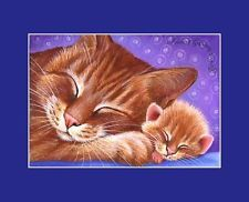 Ginger Cat ACEO Print Protective Embrace By I Garmashova