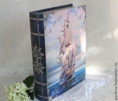 Купить Большая шкатулка-книга Морские истории Подарок мужчине - тёмно-синий, шкатулка
