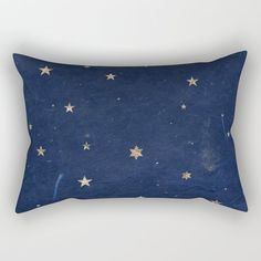 Good Night - Leaf Gold Stars On Dark Blue Background Rectangular Pillow by Western Exposure - Small x