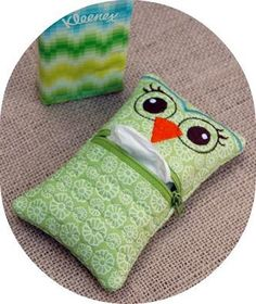 Owl Tissue Holder Machine Embroidery Design File. $8,00, via Etsy.