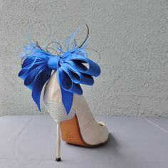 2cbcd93ed012 Royal Blue Bridal Shoe Clips Satin Ribbon Bow And Feather