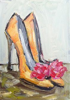 Colorful Shoe Painting orange and pink by DevinePaintings on Etsy, $48.00