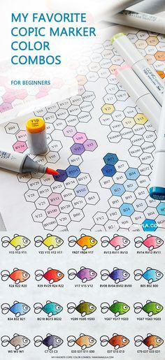 My favorite Copic Marker Color Combos. A few weeks ago I mentioned I don't have a lot of colors of Copic markers and I usually stick to the same color combos for reds, greens, yellows and so on when I do my coloring. A few of you asked me to share my combos and while at first I was going to say no (as I am really no pro when it comes to Copics), I remembered myself when I was just starting out and was looking for suggestions on what colors of markers to get.
