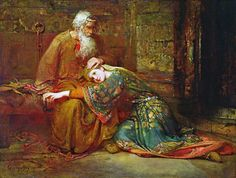 ~ George William Joy (1844-1925), Cordelia Comforting her Father, King Lear, in Prison (1886) —