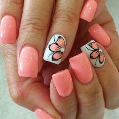 Nail art is one of many ways to boost your style. Try something different for each of your nails will surprise you. You do not have to use acrylic nail designs to have nail art on them. Here are several nail art ideas you need in spring! Spring Nail Art, Nail Designs Spring, Nail Art Designs, Nail Summer, Pedicure Designs, Pedicure Ideas, Cute Nails For Spring, Nail Art Ideas For Summer, Summer Vacation Nails