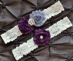 Plum Wedding Garter Bridal Garter Set  Ivory by Avenue22Bridal, $22.00