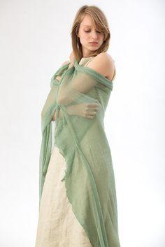 knit scarfgreen bamboo silk scarf emerald mint by Toosha on Etsy,