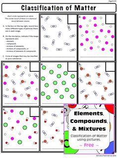 Free Elements Compounds and Mixtures Classification of Matter Worksheet with Answers. Help students visualize the difference between elements, compounds, and mixtures. High School Chemistry, Chemistry Teacher, Middle School Science, Elementary Science, Elements Compounds And Mixtures, Science Resources, Science Lessons, Classroom Activities, Classroom Ideas