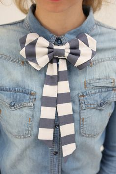 cute white and gray striped bow tie