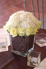 Coffee beans & floral centerpiece.