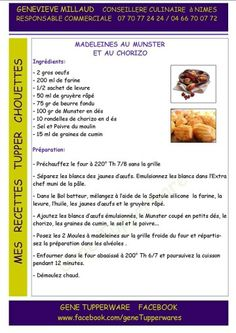 Madeleines au munster et chorizo Tupperware Healthy Meals To Cook, Healthy Recipes, Tupperware Pressure Cooker, Tupperware Recipes, Mini Cakes, Chorizo, Appetizer Recipes, Cooking, Pesto