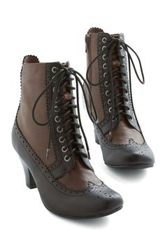 Add carefree jubilation to your ensemble with these Victorian-inspired Jeffrey Campbell booties. In deep-brown and black leather, this lace-up pair features ornate perforations and scalloped trim for unique retro style that highlights your playful spirit! Costume Steampunk, Steampunk Shoes, Steampunk Fashion, Victorian Fashion, Vintage Fashion, Victorian Boots, Lace Booties, Ankle Booties, Brown Booties