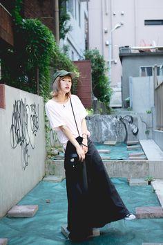 Street Style of Tokyo: Tshirt, Pants, Necklace & Bag BUBBLES / Shoes CONVERSE   Fashionsnap.com