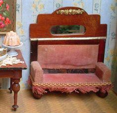 kl. antikes Salon Sofa Samtbezug Historismus orig um/vor 1900 Puppenstube RAR | eBay