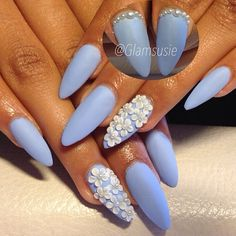 Blue matte floral nails with white flowers Hot Nails, Hair And Nails, Nail Mania, Marble Nails, Finger Painting, Beautiful Nail Art, Blue Nails, Stiletto Nails, Mani Pedi