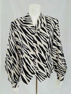 Andriani 100% Silk Long Sleeve Zebra Print Blouse Large Ivory Black Shoulder Pad