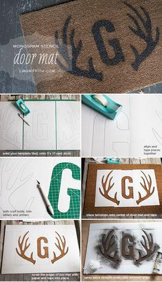 DIY stenciled door mat