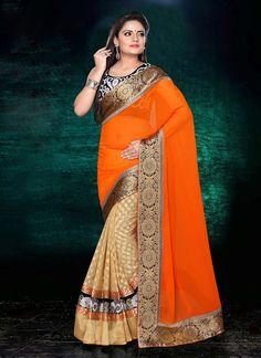 Splendid Beige N Orange Half N Half #Saree
