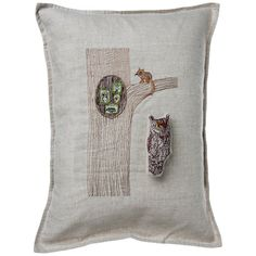 Owl In Tree Pocket Pillow 12x16
