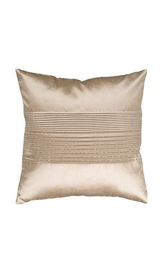 25$ - Surya HH-019 Hand Crafted 100% Polyester Champagne 18  x 18  Solid Decorative Pillow from Surya- Simple yet stylish. This pillow is a mixture of a solid and striped design. The color champagne accents this decorative pillow. This pillow contains a poly fill and a zipper closure. Add this 18  x 18  pillow to your collection today.