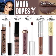 Kylie Cosmetics Moon Liquid Lipstick Dupes. @allintheblush