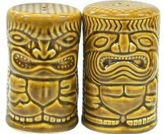 Hawaiian Salt & Pepper Shakers Tiki #1 by KC. $12.49. Hawaiian Home Accessories add a beautiful and warm tropical touch to your home or office!. Hawaiian Salt and Pepper Shakers - Two piece set. Cute decor for your kitchen. Poly Resin.