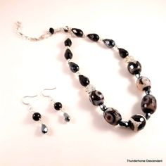 Agate Necklace, Beaded Earrings, Earring Backs, Earring Set, Agate Stone, Silver Beads, Hippie Boho, Happy Shopping, Etsy Shop