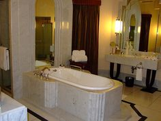 Our all-marble bathroom, with its original Art Deco design maintained.