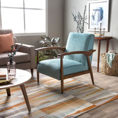 Gracie Mid Century Blue Arm Chair - living room/ family room