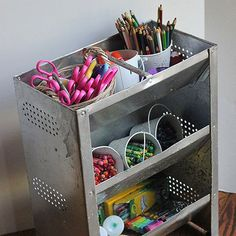 It wasn't unusual for M.J. of Pars Caeli to find crayons, glue, and scissors all over her house. Rather than limit her children's artistic endeavors to one room, the blogger created a portable art caddy out of the unlikeliest of objects -- a chicken feeder! We love how the art supplies are grouped by type and are easily accessible when inspiration hits./