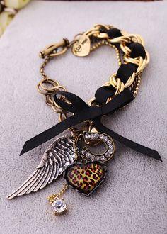 pulseiras preto e dourado