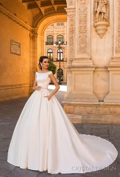 crystal design 2017 bridal off the shoulder simple clean bodice elegant classic ball gown a  line wedding dress with pockets lace back royal train (rafaella) mv