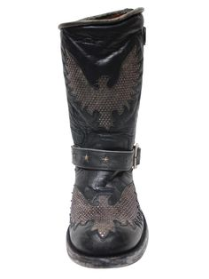 One bad-ass biker boot! Eagle inlays covered in silver studs and brass star inlays on an engineer strap completed with a silver buckle at the ankle and upper | Old Gringo Biker Iron Eagle Mens Boots - Black/Grey M1357-3 | Boot Star Online