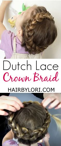 Video Tutorial: Dutch Lace Crown Braid is sweet and beautiful. This crown braid combines the dutch and lace braid techniques. Try On Hairstyles, Braided Ponytail Hairstyles, Braided Hairstyles For Wedding, Braided Hairstyles Tutorials, Crown Hairstyles, Little Girl Hairstyles, Best Hairstyle For Kids, Braid Crown Tutorial, How To Draw Braids